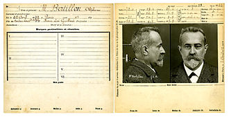 Alphonse Bertillon - Image: Bertillon, Alphonse, fiche anthropométrique recto verso