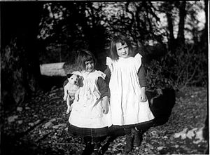 Pinafore - Two young girls of Ireland wearing pinafores, circa 1903