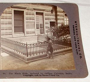 Black Hole of Calcutta - A fenced display of the Black Hole of Calcutta. (1908)