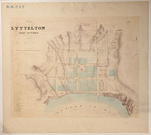 Joseph Thomas (surveyor) - Black Map of Lyttelton from September 1849