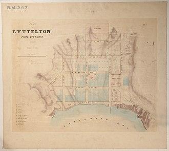 Lyttelton, New Zealand - Black Map of Lyttelton from September 1849