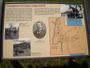 Coxey's Army - Sign marking Coxey's Army 1894 encampment in Bladensburg, Maryland