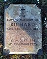 Bladon, Oxfordshire - St Martin's Church - churchyard, grave of Richard Spencer-Churchill (1973-1973).jpg
