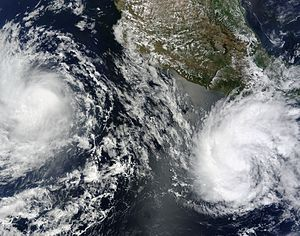 Timeline of the 2010 Pacific hurricane season - Tropical Storms Blas (left) and Celia (right) on June 19