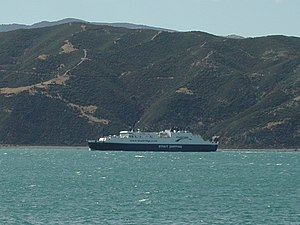 Bluebridge Cook Strait ferry entering Wellingt...