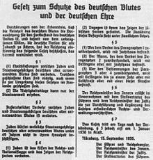 Pierwsza strona publikacji niemieckiej ustawy o ochronie krwi i honoru w Reichsgesetzblatt.