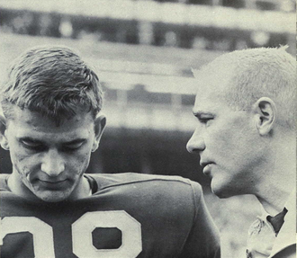 Bob Timberlake (American football) - Timberlake (left) with Bump Elliott, 1964
