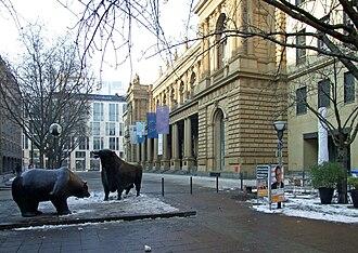 Börsenstraße - Börsenstraße (Stock Exchange Street) seen from Börsenplatz (Stock Exchange Square), with the Frankfurt Stock Exchange building to the right and the famous bear and bull sculptures in front of the Exchange