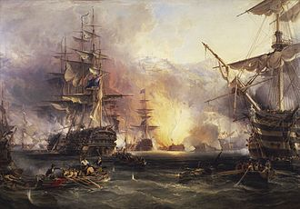 Edward Brace - Bombardment of Algiers, 27 August 1816, by George Chambers (painter); The bow of Impregnable is visible at the right front