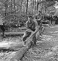 Bosbewerking, arbeiders, boomstammen, werkzaamheden, beilen, Bestanddeelnr 251-8146.jpg