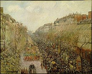Boulevard Montmartre: Mardi Gras - Boulevard Montmartre: Mardi Gras by Camille Pissarro, oil on canvas, Paris, 1897.