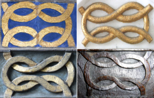 Bourchier knot - Examples of Bourchier knots visible in Tawstock Church, Devon, parish church of Tawstock Court, seat of the Bourchier Earls of Bath. Top left: detail from monument to William Bourchier, 3rd Earl of Bath (1557-1623); top right: detail from monument to Sir Henry Bourchier Toke Wrey, 10th Baronet (1829–1900); bottom left: detail from 16th century Bourchier Pew; bottom right: detail from 16th century bench-end