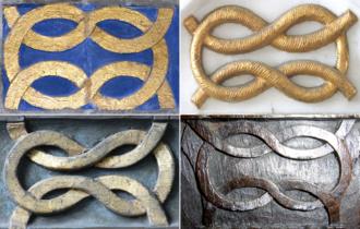 Heraldic knot - Bourchier knot compilation, Tawstock Church, Devon