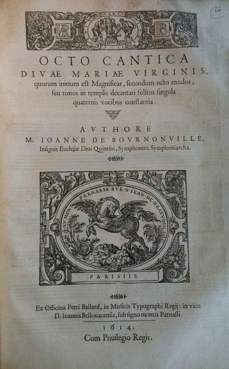Jean de Bournonville - Title page of the Octo cantica de Bournonville (Paris, 1614). Paris ICP.