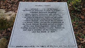 Edward Bradley (colonel) - Historical marker about Bradley in Cleveland, the seat of Bradley County, Tennessee.