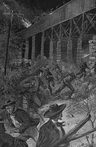 East Tennessee bridge burnings - Depiction of the attacks in Barton's A Hero In Homespun