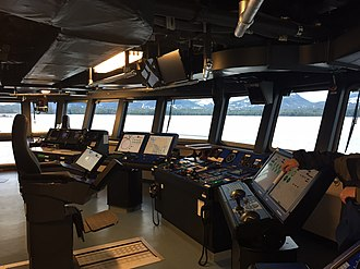 Bridge (nautical) - The interior of the bridge of the Research Vessel Sikuliaq, docked in Ketchikan, Alaska.