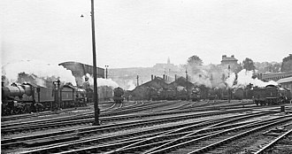 Bristol Bath Road depot - Bristol Bath Road depot under British Railways, 2 August 1958, as viewed from platform 2A of Bristol Temple Meads