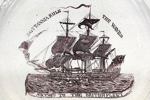 Command of the sea - Britannia rule the waves: decorated plate made in Liverpool circa 1793-1794.