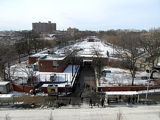 Broadway Junction (New York City Subway) - Looking west at the complex's head house and Callahan-Kelly Playground, located above the IND station.