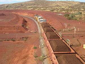 Hamersley & Robe River railway - Iron ore train leaving the Brockman 4 mine in June 2012