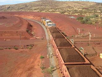 Hamersley & Robe River railway - Iron ore train leaving the Brockman 4 mine in June 2012