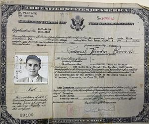 Emanuel Bronner - Bronner's 1936 naturalization certificate making him a U.S. citizen