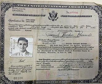 Emanuel Bronner - Bronner's 1936 naturalization certificate making him a U.S. citizen
