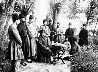 Qajar dynasty - Mozaffar al-Din Shah and Attendants Seated in a Garden One of 274 vintage photographs (Brooklyn Museum)