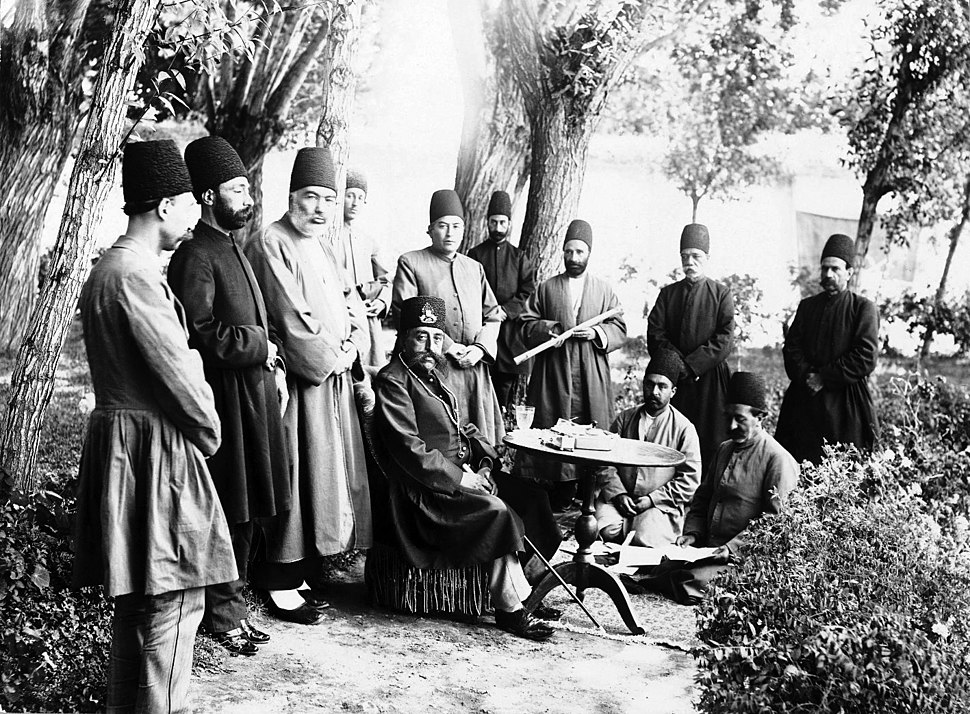 Brooklyn Museum - Mozaffar al-Din Shah and Attendants Seated in a Garden One of 274 Vintage Photographs
