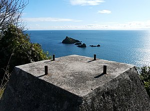 Dartmouth Harbour - Brownstone Battery foundation overlooking Mew Stone.