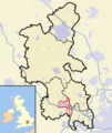 Buckinghamshire outline map with UK High Wycombe Urban Area highlighted.png