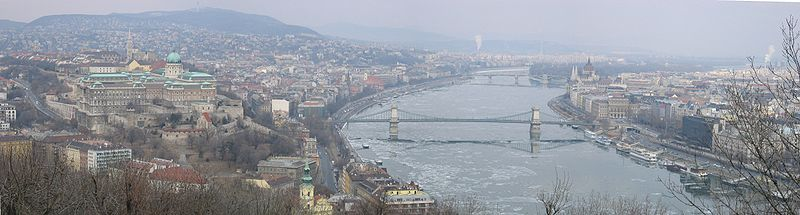 Budapest, Hungary, View from Gellert Hill Towards North, Panorama, February 2006.jpg