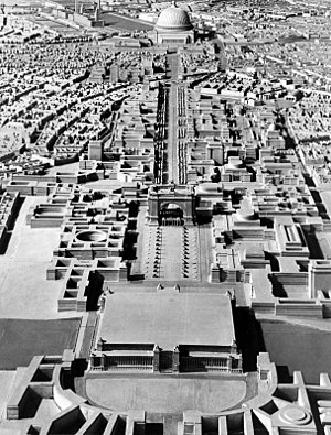 Welthauptstadt Germania - A model of Adolf Hitler's plan for Berlin formulated under the direction of Albert Speer, looking north toward the Volkshalle at the top of the frame.