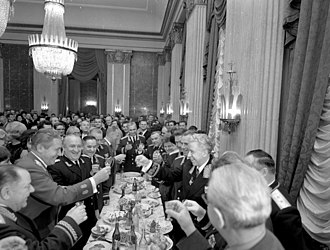 Pyotr Koshevoy - Koshevoy (front left) at a reception at the Soviet embassy in Berlin, 1967