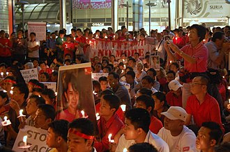 Burma Campaign UK - A vigil for Burma in front of the Petronas Twin Towers, 5 October 2007