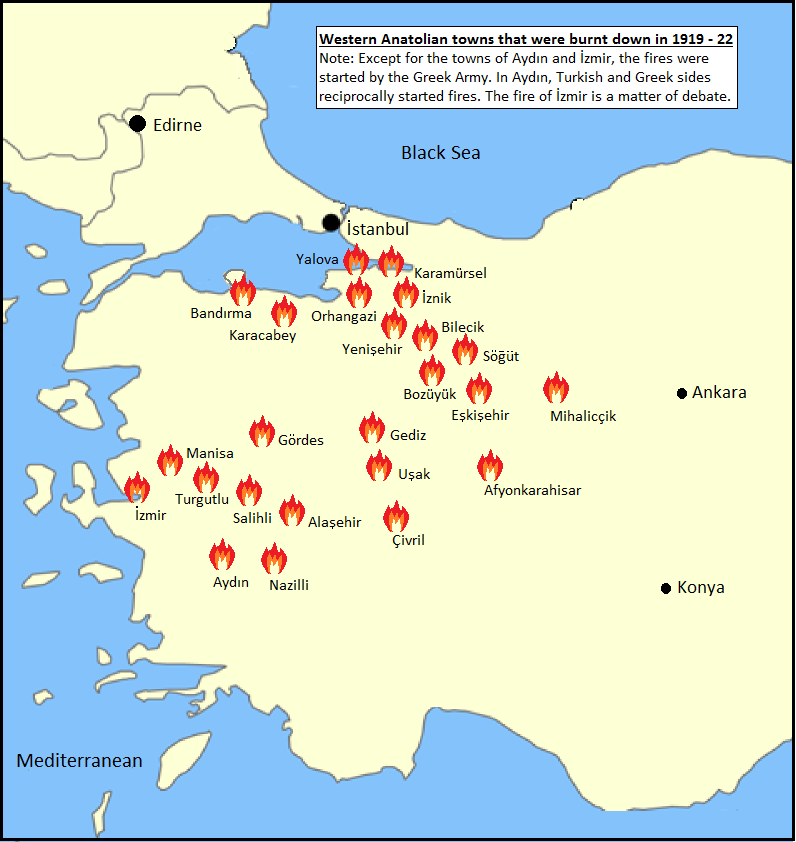 Burnt down Western Anatolian towns