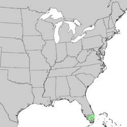 alt=Distribución natural en Estados Unidos                          (sur de Florida).