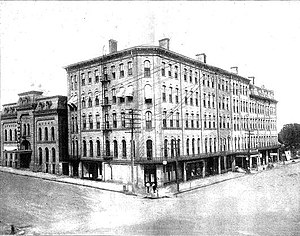 Quad City Symphony Orchestra - Burtis Opera House (on the left) hosted the first concerts.