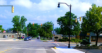 Butler, Indiana - The view from downtown Butler, Indiana, looking north past the major intersection between U.S. Highway 6 and State Road 1.