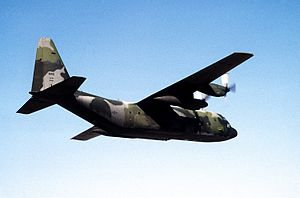 130th Airlift Squadron - C-130H Hercules (s/n 88-1307) from the 130th Airlift Squadron, 130th Airlift Group, West Virginia Air National Guard flies over the United Arab Emirates during a troop-carrying mission in support of operation Desert Storm, 1991.