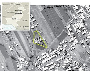 Reconnaissance satellite - Aerial view of Osama bin Laden's compound in the Pakistani city of Abbottabad made by the CIA.