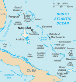 Map of the Bahamas show Nassau