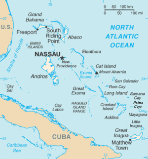 Lucayan people - Map of The Bahamas (excluding the Turks and Caicos Islands, east of Great Inagua off the right edge of the map)