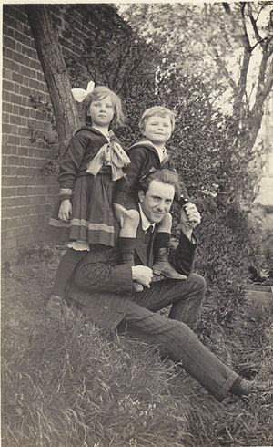 Charles Kennedy Scott -  Charles Kennedy Scott with his daughter Barbara and son C. W. A. Scott in 1908.
