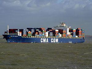 CMA CGM Debussy IMO 9235907 , leaving Port of Rotterdam, Holland 21-Jan-2007.jpg
