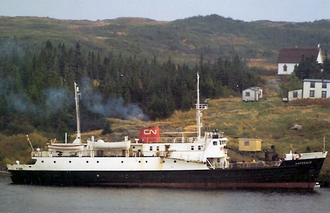 The CN ferry Hopedale off the outport of La Poile Bay, Newfoundland, in 1971 CN Outport Ferry Hopedale.png