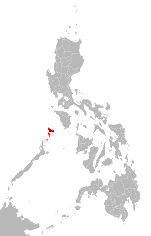 Busuanga Island - Map showing the Calamian Group (in red) and Busuanga Island (in maroon)