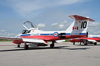 CFB Borden - Snowbird 10 sporting the 40th season anniversary sticker above the Canadian flag. 431 squadron was in town for the CFB Borden Canadian Forces Day and Air Show.