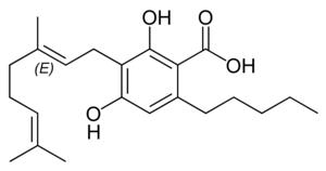 Tetrahydrocannabinolic acid synthase - Chemical structure of cannbigerolic acid (CBGA), the substrate for THCA synthase.